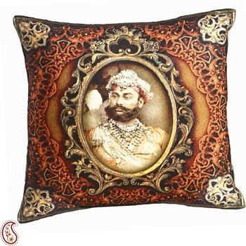 Multicolor Digital Print Poly Velvet Cushion Covers of Raja of Rajastani