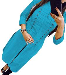 Buy Turquoise plain cotton long-kurtis long-kurti online