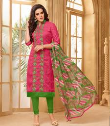Buy Pink embroidered cotton salwar straight-suit online