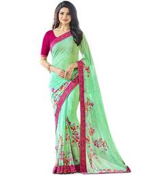 Buy Light green printed georgette saree with blouse printed-saree online