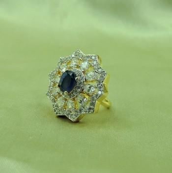 Star Shape Designer Blue AD Ring