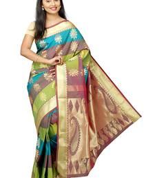 Buy Multicolor plain art silk sarees saree with blouse wedding-saree online