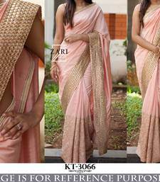 Buy Pink color embroidered georgette semi stitched party wear saree  designer-embroidered-saree online