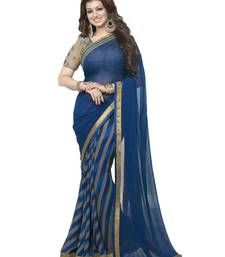 Buy Blue printed georgette saree with blouse bollywood-saree online