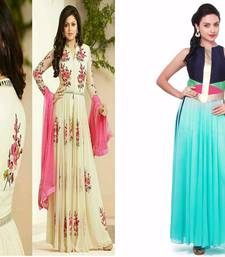 Buy White and blue embroidered georgette and georgette semi stitched salwar with dupatta salwar-combo online