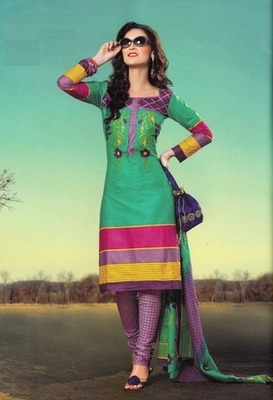 Trendy Green Printed Cotton  Dress Material