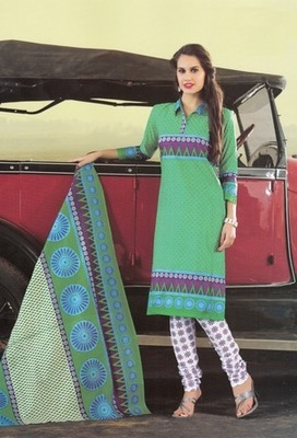 Beautiful Green Printed Cotton  Dress Material