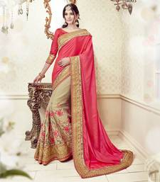 Buy Pink embroidered silk saree with blouse georgette-saree online
