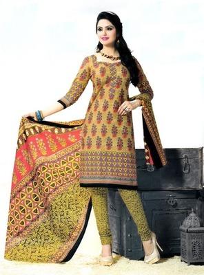 Fabulous Cream Printed Cotton  Dress Material