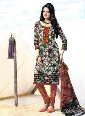Fabulous Multi Color Printed Cotton  Dress Material