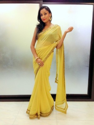 Biege Yellow semi georgette saree