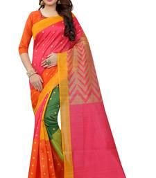 Buy Yellow printed bhagalpuri silk saree with blouse bhagalpuri-silk-saree online