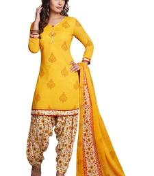 Buy Yellow printed synthetic salwar punjabi-suit online