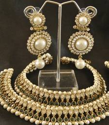 Buy Green colour Pearl Anklets & Pearl Earrings party-jewellery online