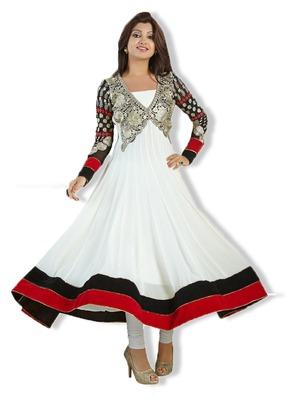 White Colour Faux Georgette Anarkali Salwar Kameez By Fabfiza