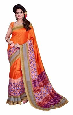 Orange printed Mysore Jute and Cotton Linen Blend Silk saree with blouse