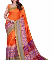 Buy Orange printed Mysore Jute and Cotton Linen Blend Silk saree with blouse printed-saree online