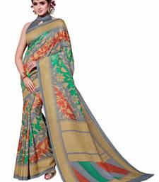 Buy Green printed Mysore Jute and Cotton Linen Blend Silk saree with blouse printed-saree online