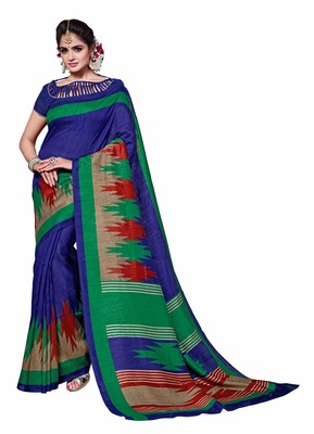 Blue printed Mysore Jute and Cotton Linen Blend Silk saree with blouse