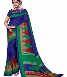Buy Blue printed Mysore Jute and Cotton Linen Blend Silk saree with blouse printed-saree online