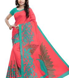 Buy Pink printed Mysore Jute and Cotton Linen Blend Silk saree with blouse printed-saree online