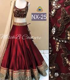 Buy Maroon embroidered dupion silk unstitched lehenga lehenga-choli online