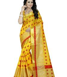 Buy Yellow hand woven silk saree with blouse banarasi-saree online