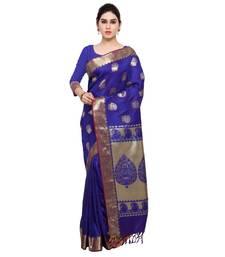 Buy Blue printed kanchipuram silk saree with blouse kanchipuram-silk-saree online