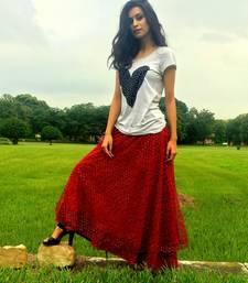 Buy Maroon Net Skirt skirt online