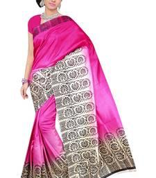 Buy rani_pink printed Benglori silk saree with blouse bangalore-silk-saree online