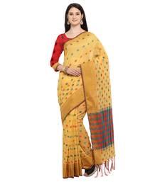 Buy Yellow woven banarasi cotton saree with blouse banarasi-saree online