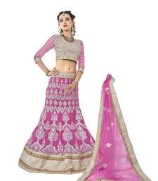 Buy Pink embroidered net unstitched lehenga with dupatta karva-chauth-lehenga online