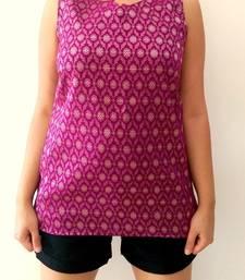 Buy Purple Chandheri Cotton tops top online