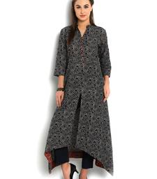 Buy indibelle blue cotton C-Cut Long kurta kurtas-and-kurtis online