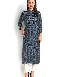 Buy indibelle blue rayon printed straight long kurta kurtas-and-kurti online