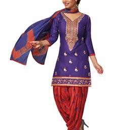 Buy Purple embroidered cotton salwar with dupatta punjabi-suit online