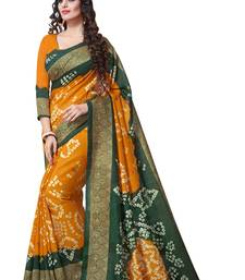 Buy Yellow printed south silk saree with blouse south-indian-saree online