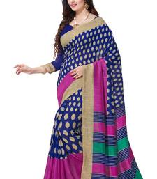 Buy Blue printed south silk saree with blouse south-indian-saree online