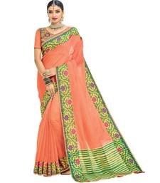 Buy peach printed cotton saree with blouse cotton-saree online