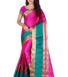 Buy Pink woven polycotton saree with blouse cotton-silk-saree online