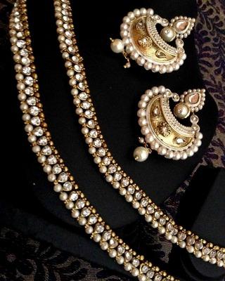 Combo: White diamentes pearl payal anklet & pearl meenakari India earring cbd73