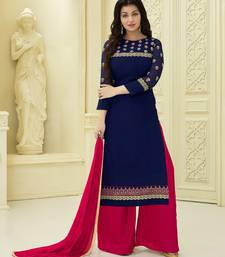 Buy navy blue embroidered faux georgette unstitched salwar with dupatta palazzo online