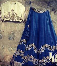 Buy Blue silk embroidered lehenga with dupatta lehenga-choli online