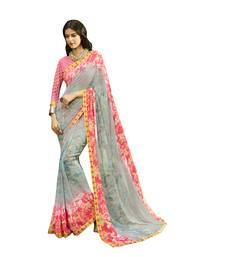 Buy multicolor printed georgette saree with blouse georgette-saree online