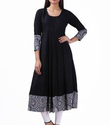 Buy Black plain viscose rayon stitched ethnic-kurtis ethnic-kurti online