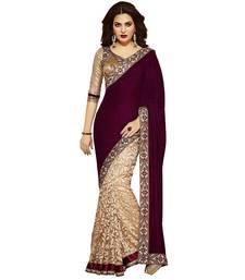 Buy Cream printed brasso saree with blouse brasso-saree online