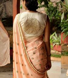 Buy Peach embroidered georgette saree with blouse party-wear-saree online