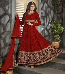 Buy Maroon embroidered georgette salwar wedding-salwar-kameez online
