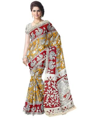 GiftPiper Kalamkari Silk Saree  -Yellow & Red 1