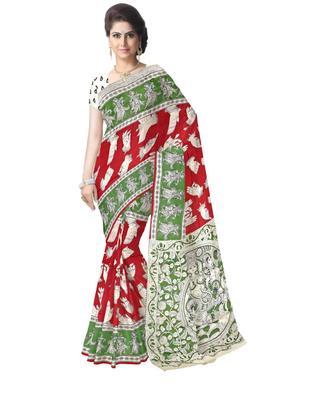 GiftPiper Kalamkari Silk Saree  -Red & Green
